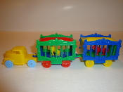 Yellow Circus Truck with baby blue wheels with 2 wagons #100