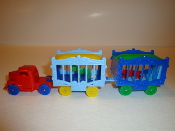 Red Circus Truck with blue wheels and 2 Wagons #102