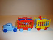 Baby Blue Truck/Blue wheels & 2 wagons, one with Giraffe    #106