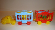 Yellow Circus truck &  2 wagons with an Elephant and Zebra  #110