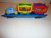Reproduction American Flyer Blue Flatcar with Circus Load  #303