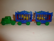 Green Circus Truck with 2 Blue sided Wagons  #104-B