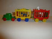 Green Truck/Red wheels & 2 wagons, one with White Giraffe #111