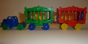 Blue Truck/Green Wheels & 2 Circus Wagons one with BobCat  #113