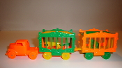 Orange Circus Truck/Orange wheels & 2 Orange/Green Wagons #127