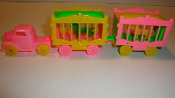 Pink Circus Truck/yellow wheels & 2 Pink and Yellow Wagons #120