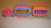 Pink Circus Truck/baby bl wheels & 2 Pink & Baby Blue Cages #125
