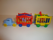 Baby Blue Truck/yellow wheels & 2 wagons, one Red Giraffe  #109