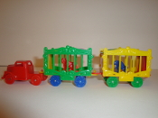 Blue Truck/Green Wheels & 2 Circus Wagons one with BobCat  #119